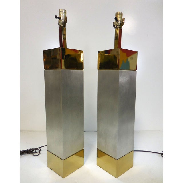 Laurel Brushed Aluminum & Brass Lamps - A Pair - Image 2 of 9