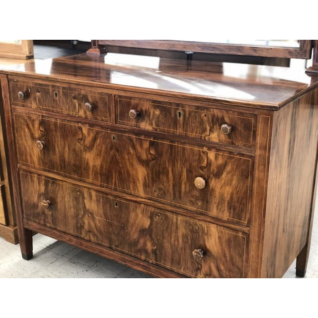 Early 20th Century Early 1900s Mahogany Burlwood Hepplewhite Dresser Storage Credenza Cabinet With Hand Turned Wooden Knobs For Sale - Image 5 of 7