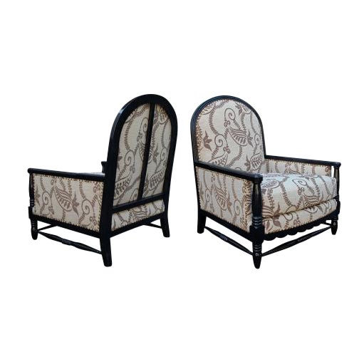 A Handsome Pair of French Art Deco Brown Lacquered Upholstered Club Chairs; By Courtois For Sale