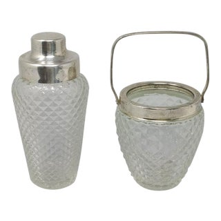 1950 Mid-Century Vintage Cut Crystal Cocktail Shaker With Ice Bucket, Italy - Set of 2 For Sale