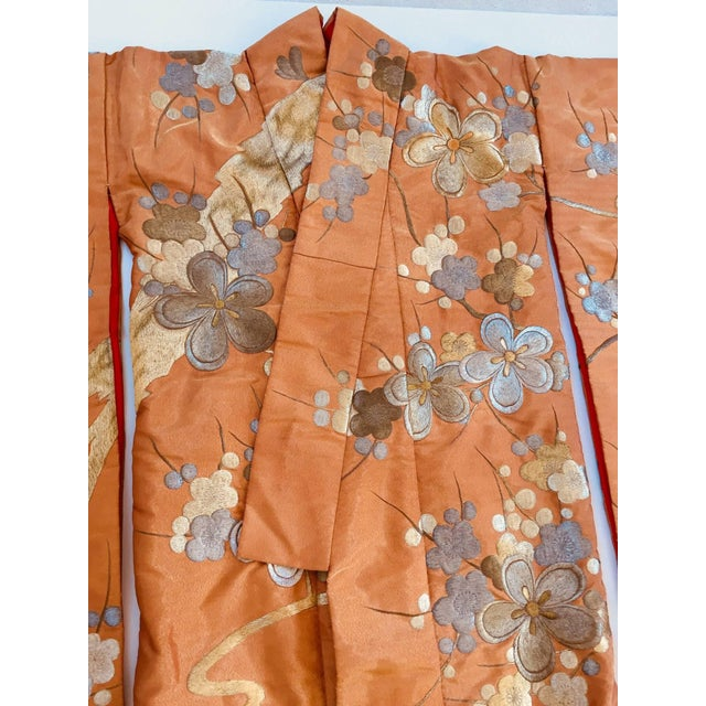 Fabric Vintage Brocade Japanese Ceremonial Kimono in Orange, Gold and Silver For Sale - Image 7 of 13
