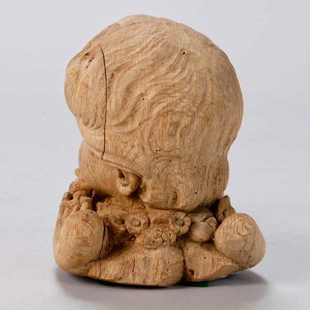 19th Century Bleached Oak Carved Cherubs - A Pair For Sale - Image 9 of 9