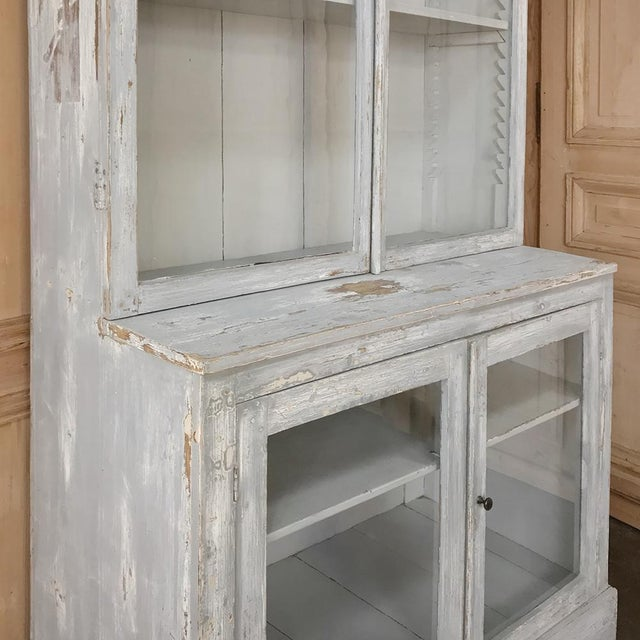 Early 20th Century Antique Swedish Scraped Painted Bookcase For Sale - Image 5 of 13