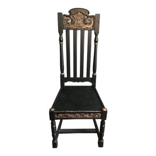 Gothic Black and Gold Carved Chair For Sale