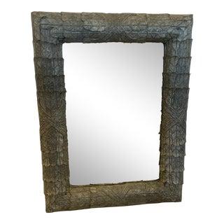 Zinc Palm Motif Bevelled Mirror For Sale