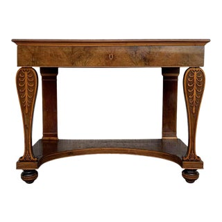 Antique French Empire Fruitwood Console Table With Drawer, Early 19th Century For Sale