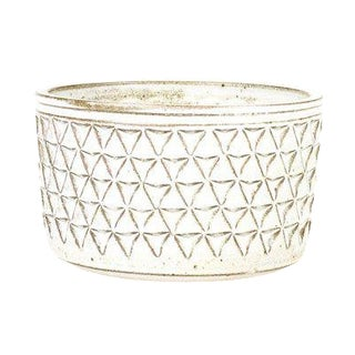 Christian Boehr Ceramic Stoneware Planter — Large Delta Pattern —White Glaze — P51 For Sale