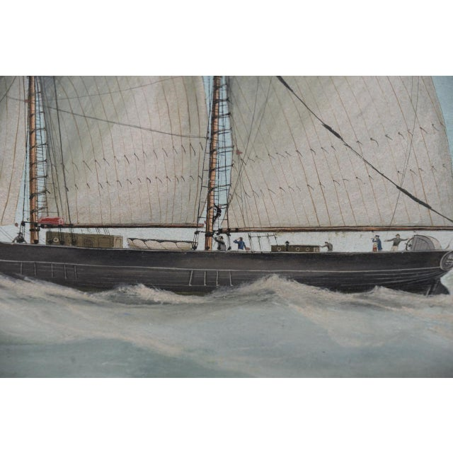 """Gouache Original Watercolor of the British Ship """"Kate"""" Out at Sea C.1890s to 1910 For Sale - Image 7 of 11"""