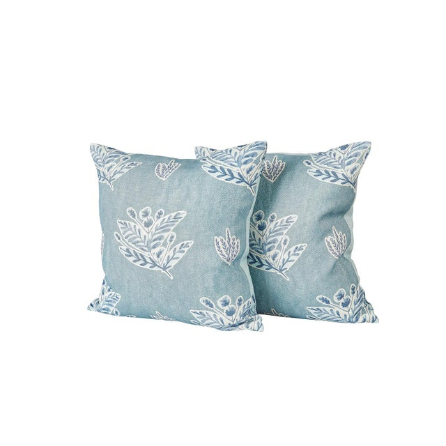 Pair of matching, custom Ferrick Mason Emily - Blue knife edge pillows, with hidden zippers. Front and back custom colors...