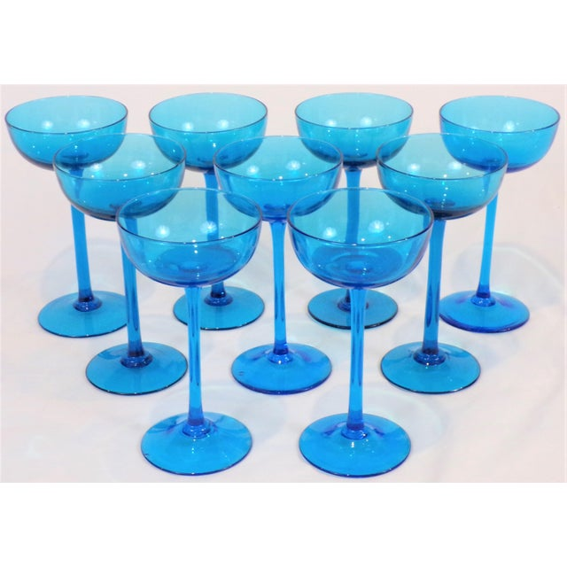 1960's Italian Blue Champagne Coupes - Set of 9 For Sale - Image 9 of 9