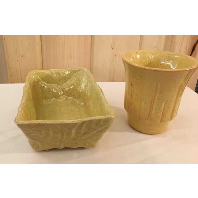 Mid-Century Modern Mustard Speckled Planters - A Pair - Image 9 of 11