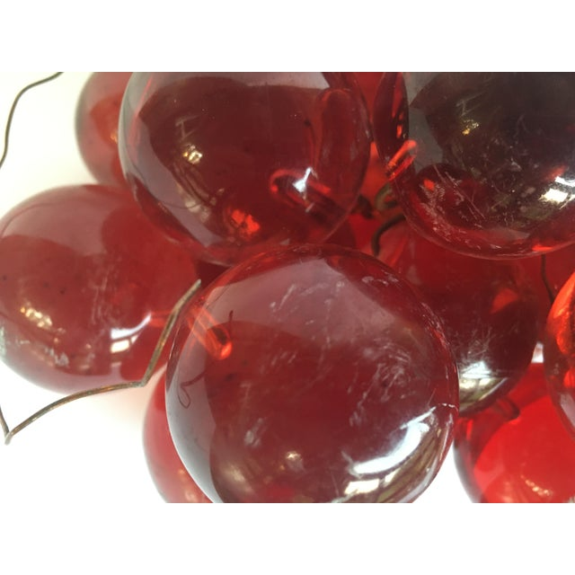 Plastic 1960's Bunch of Lucite Ruby Red Grapes For Sale - Image 7 of 10