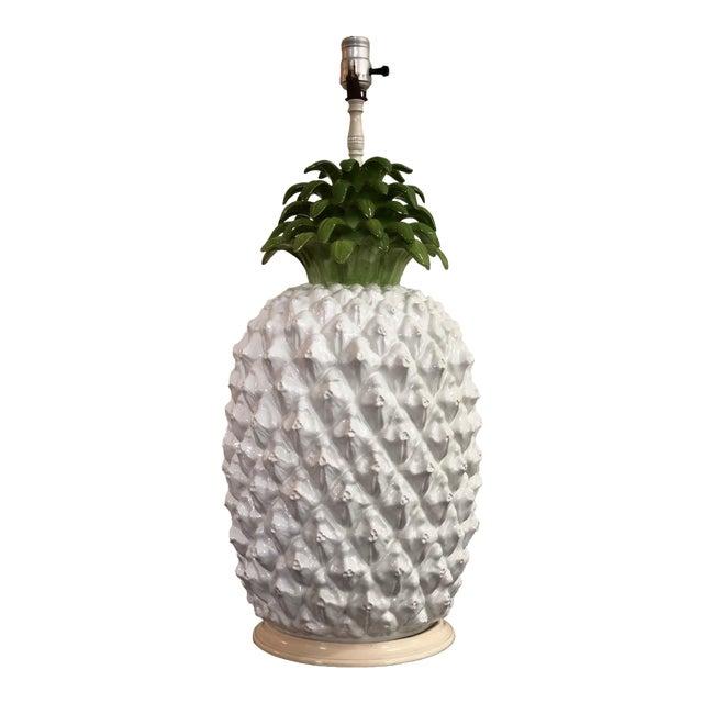 Mid Century Italian Majolica Pineapple Table Lamp For Sale