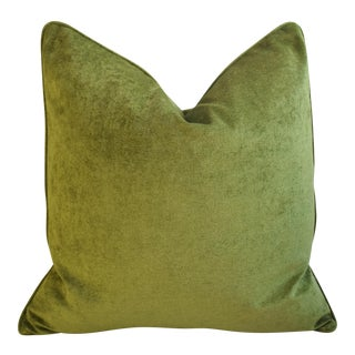 Rich Forest Green Velvet Feather/Down Pillow For Sale