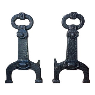 Vintage Hammered Black Iron Andirons - a Pair For Sale