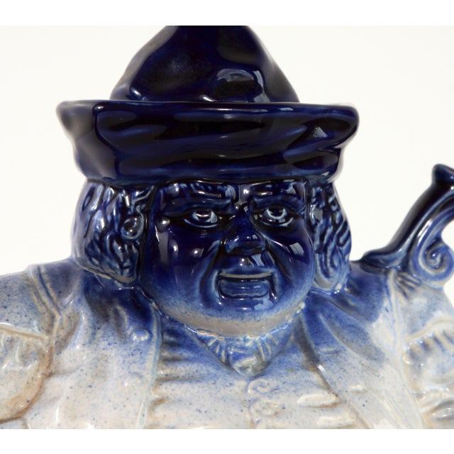 Flow Blue & White Staffordshire Style Figural Toby Judge Teapot For Sale In Providence - Image 6 of 9