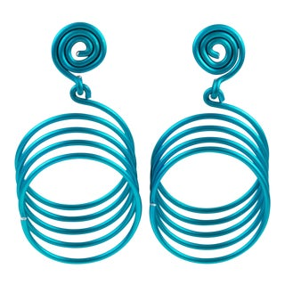 David Spada Modernist Space Age Blue Anodized Aluminum Dangling Pierced Earrings For Sale