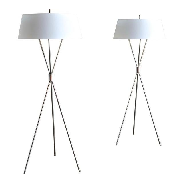 """t.h. Robsjohn Gibbings """"Tripod"""" Floor Lamps - a Pair For Sale"""