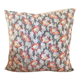 Vintage French Floral Textile Throw Pillow For Sale