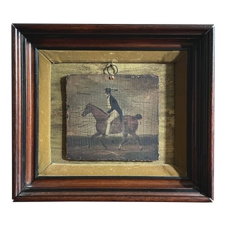 Early 20th Century Folk Art Horse and Rider Oil Painting in Velvet Shadowbox For Sale