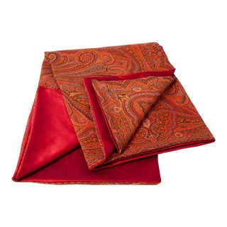 "19th Century Antique French ""Cachemire Lyonnais Crimson"" Throw For Sale"