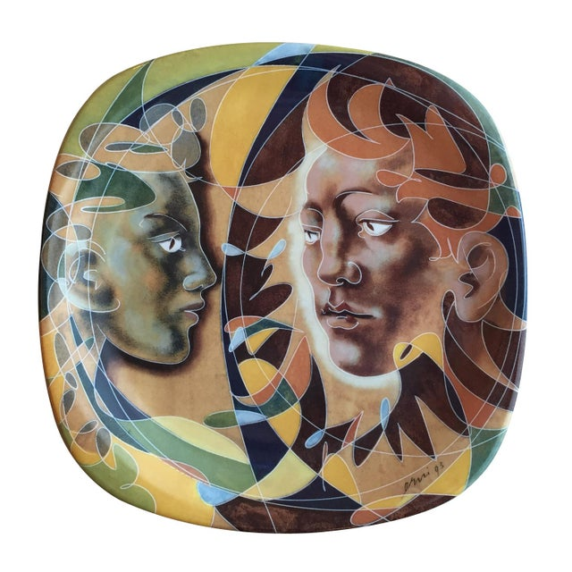 1990s 1990s Decorative Porcelain Plate with Human Figure Design by Hans Erni For Sale - Image 5 of 5
