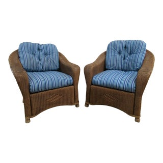 Vintage Indonesian Woven Rattan Club Chairs -a Pair For Sale