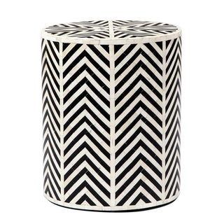 Cream & Black Horn Side Table