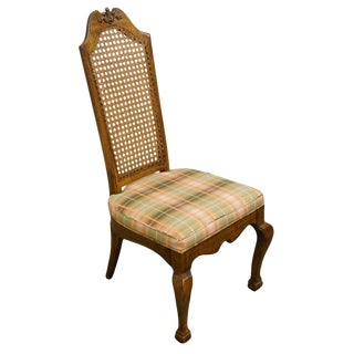 Late 20th Century American of Martinsville European Old World Style Cane Back Dining Side Chair For Sale