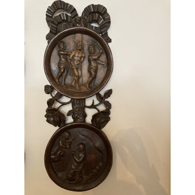 French Carved Wooden Wall Plaques - a Pair For Sale - Image 3 of 7