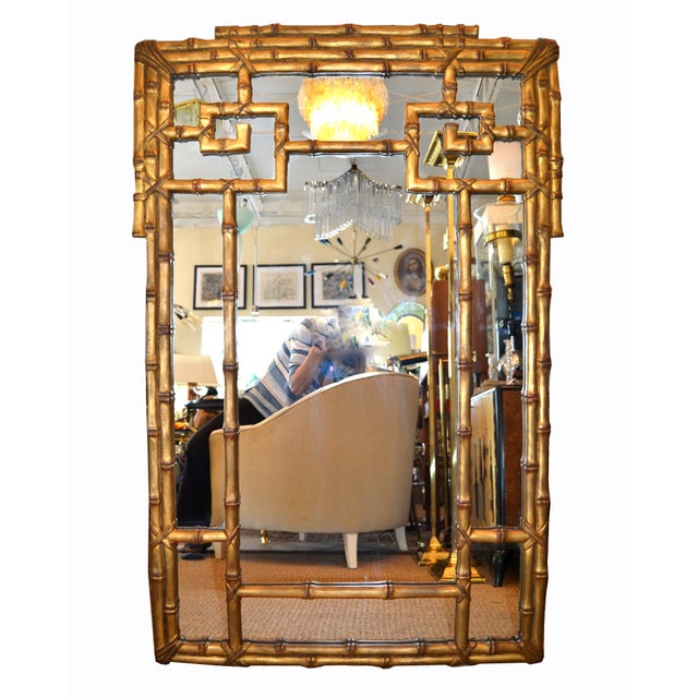 Hollywood Regency Golden Faux Bamboo Greek Key Wall Mirror. Can only be hung vertical.