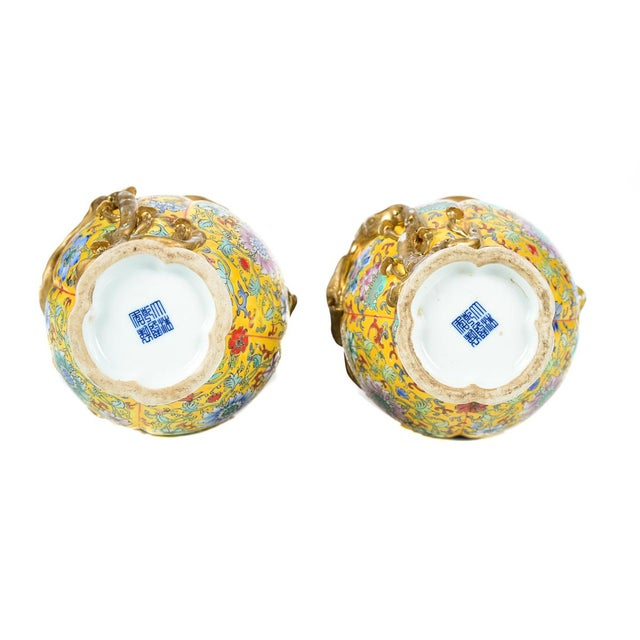 Chinese Yellow Famille Rose Vases - a Pair For Sale - Image 9 of 9