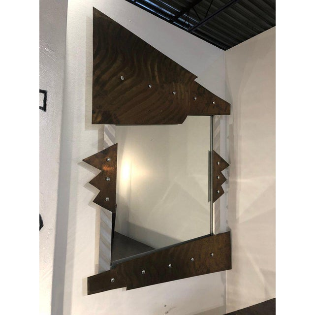 Modern Metal Wall Mirror For Sale - Image 4 of 8