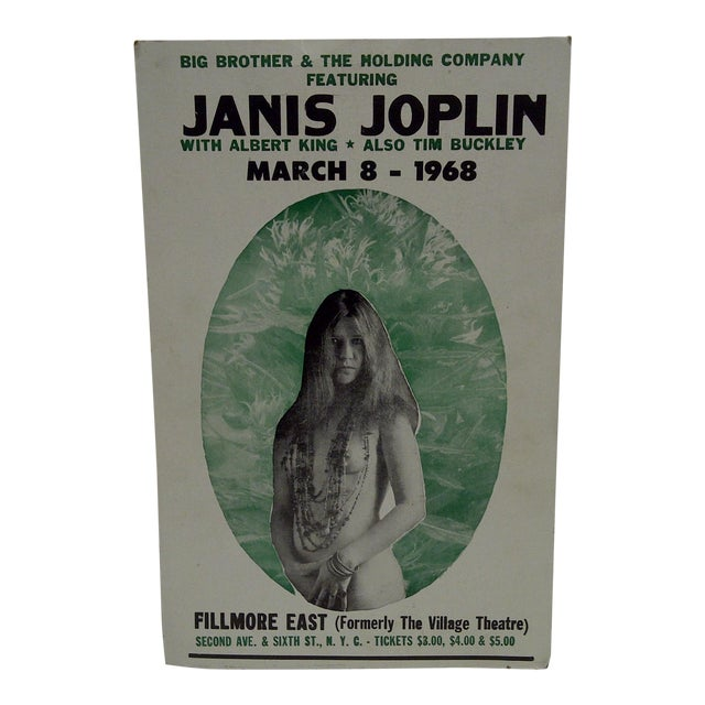 March 8, 1968 Janis Joplin Filmore East Theatre Concert Poster For Sale