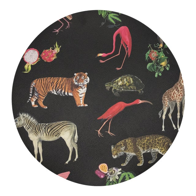 "Nicolette Mayer Exotix Black 16"" Round Pebble Placemat For Sale"