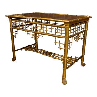 Faux Bamboo Table With Leather Inset Top For Sale