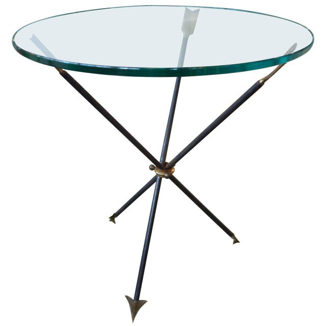 1960s Mid Century Modern Iron and Bronze Arrow Base Side Table For Sale - Image 9 of 9