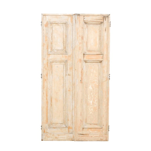 Pair of 19th Century Painted Wood French Doors With Nice Recessed Panels For Sale