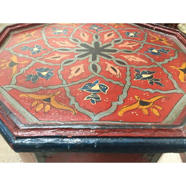 Blue Pair of Hand-Painted Moroccan Pedestal Octagonal Shape Table With Moorish Arches For Sale - Image 8 of 13