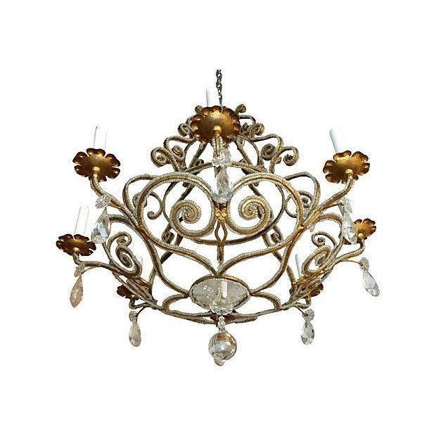 Biedermeier Chandelier with Crystal and Intricate Beading For Sale - Image 3 of 6