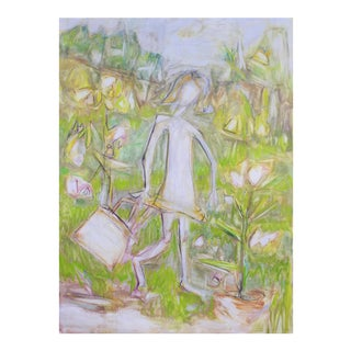 "Large Abstract Oil Painting by Trixie Pitts ""Little Gardener"""