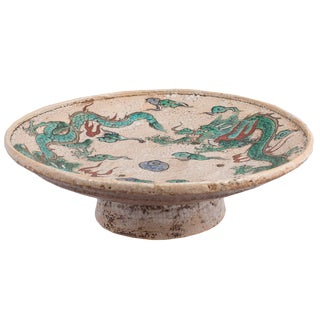Late 19th Century Vintage Japanese Glazed Earthenware Footed Dragon Bowl For Sale