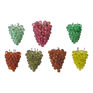 1930s Murano Multicolor Grape Cluster Lamp Shades - Set of 7 For Sale