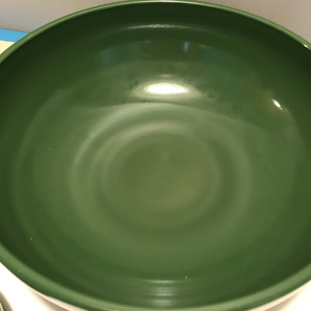 1930s Vintage Hazel Atlas Green & Yellow Salad Serving - Set of 5 For Sale In New York - Image 6 of 13