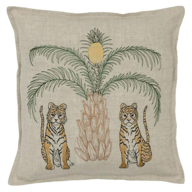 Tigers With Pineapple Palm Tree Pillow For Sale - Image 4 of 4
