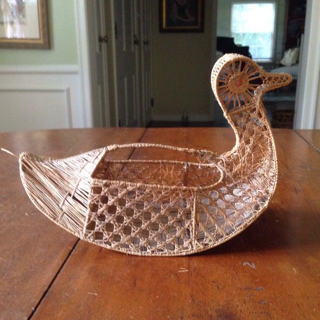 Vintage Italian Straw/Wicker Duck Basket - Image 11 of 11