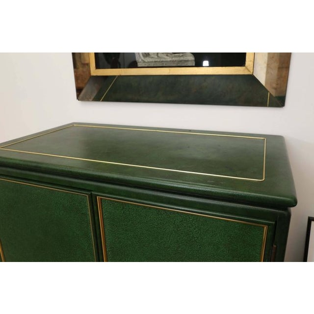 Signed Mastercraft Hollywood Glam Lacquered Brass and Emerald Leather Cabinet - Image 4 of 5