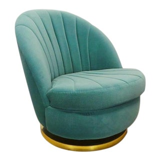 1970s Vintage Milo Baughman for Thayer Coggin Velour Swivel Reclining Clam Shell Slipper Chair For Sale