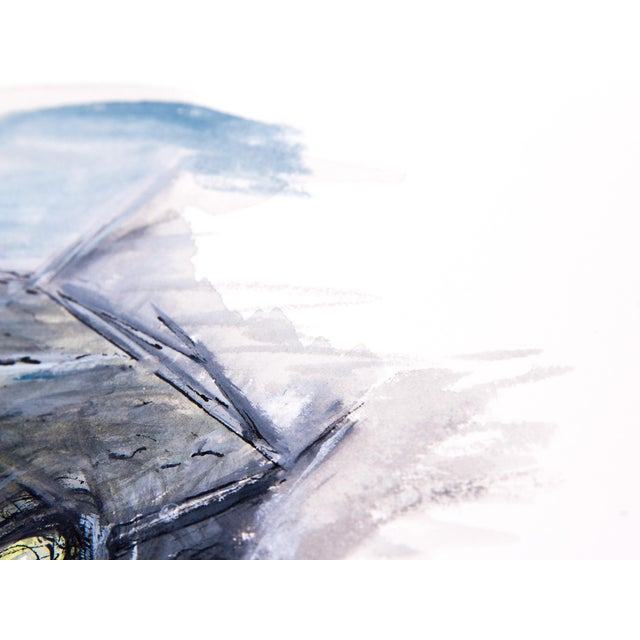 Contemporary Clif Claycomb Foggy Headlight Watercolor Painting For Sale - Image 3 of 5
