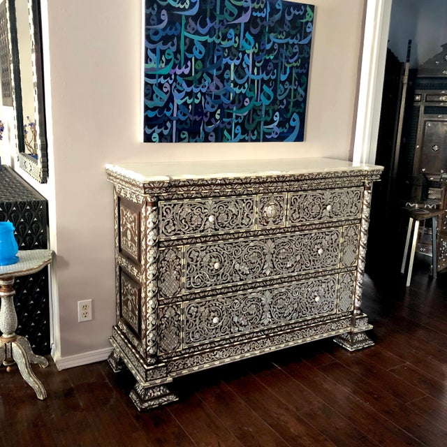 2010s Moorish Syrian Mother of Pearl Inlay Chest With Drawers For Sale - Image 5 of 11